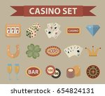 casino icons  vintage style.... | Shutterstock .eps vector #654824131