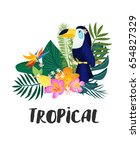 a tropical card with palm... | Shutterstock .eps vector #654827329