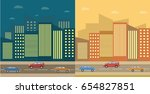 city landscape night and day... | Shutterstock .eps vector #654827851