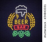beer neon sign  bright... | Shutterstock .eps vector #654843331