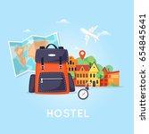 hostel building facade. budget... | Shutterstock .eps vector #654845641