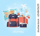 world travel. backpack.... | Shutterstock .eps vector #654845659