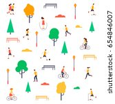 summer people in the park. flat ... | Shutterstock .eps vector #654846007
