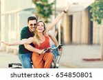 portrait of happy young couple... | Shutterstock . vector #654850801