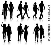 set silhouette man and woman... | Shutterstock .eps vector #654851605