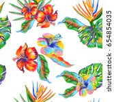 floral pattern repeat tropic... | Shutterstock . vector #654854035