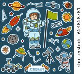 vector set with astronaut and... | Shutterstock .eps vector #654858781