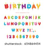 birthday candles colorful font... | Shutterstock .eps vector #654864454