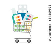 a basket full of medicines. the ... | Shutterstock .eps vector #654869935
