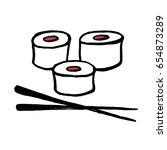 sushi doodle | Shutterstock .eps vector #654873289