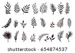 set of watercolor leaves.... | Shutterstock .eps vector #654874537