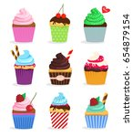 set cupcakes and muffins on a... | Shutterstock .eps vector #654879154