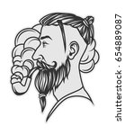 hipster with beard and undercut ... | Shutterstock .eps vector #654889087