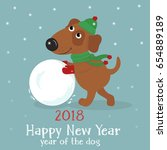 christmas card with a cute... | Shutterstock .eps vector #654889189