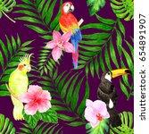 seamless tropical background... | Shutterstock . vector #654891907