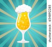 tulip   glass of beer on green... | Shutterstock .eps vector #654892285