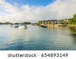 luxury yachts along grand baie... | Shutterstock . vector #654893149