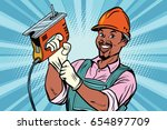 construction worker with jigsaw | Shutterstock .eps vector #654897709