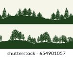 green forest trees silhouettes... | Shutterstock .eps vector #654901057