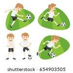 set of funny football soccer... | Shutterstock .eps vector #654903505
