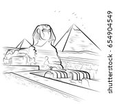 drawing pyramids and sphinx in...
