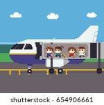 pixel art scene with people... | Shutterstock .eps vector #654906661