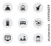 set of 9 editable hotel icons....