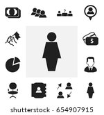 set of 12 editable job icons.... | Shutterstock .eps vector #654907915
