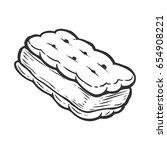 ice cream sandwich sweet... | Shutterstock .eps vector #654908221