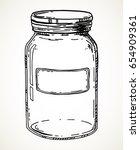 jar with blank label. vector... | Shutterstock .eps vector #654909361