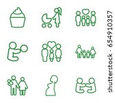 mom icons set. set of 9 mom... | Shutterstock .eps vector #654910357