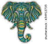 stylized ethnic boho elephant... | Shutterstock .eps vector #654913735