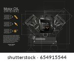bottle engine oil background ... | Shutterstock .eps vector #654915544