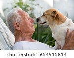 Stock photo old man resting in garden and cute dog climb on his chest and kissing him pet love concept 654915814