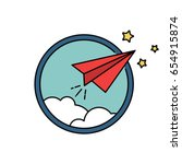 paper airplane vector retro... | Shutterstock .eps vector #654915874