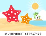 beach scene with starfish in...   Shutterstock .eps vector #654917419