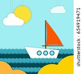 boat on beach vector... | Shutterstock .eps vector #654919471