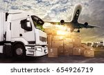 truck and aircraft ready to... | Shutterstock . vector #654926719
