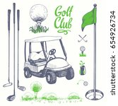 golf set with basket  shoes ... | Shutterstock .eps vector #654926734