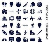 recreation icons set. set of 36 ... | Shutterstock .eps vector #654928051