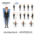 set of business man character... | Shutterstock .eps vector #654928141