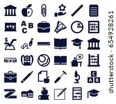 school icons set. set of 36... | Shutterstock .eps vector #654928261