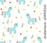 seamless pattern with cute... | Shutterstock .eps vector #654935161