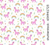 seamless pattern with cute pink ... | Shutterstock .eps vector #654941725