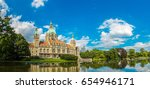 Stock photo panorama of new city hall in hannover in a beautiful summer day germany 654946171