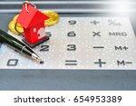 house key on calculator for...   Shutterstock . vector #654953389
