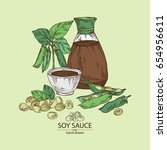 soy sauce  a bottle of soybean  ... | Shutterstock .eps vector #654956611