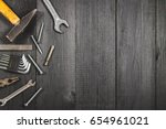 joinery tools on a dark wooden... | Shutterstock . vector #654961021