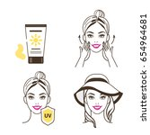 Woman take care about her face and using sunscreen cream.  Fashion and beauty sketch style. Isolated vector illustrations set.