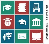 university icons set. set of 9... | Shutterstock .eps vector #654965785
